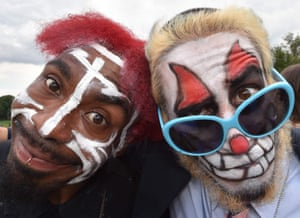 Fans of the US rap group Insane Clown Posse, known as Juggalos, protest on September 16, 2017 in front of the Lincoln Memorial in Washington, D.C. against a 2011 FBI decision to classify their movement as a gang. / AFP PHOTO / Paul J. RichardsPAUL J. RICHARDS/AFP/Getty Images