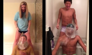 Two participants in the 'condom challenge'.