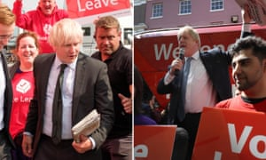 Richard Goulding playing Boris Johnson on TV, left, and, right, Johnson during the Leave campaign, May 2016.