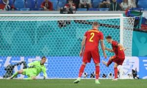 Belgium's Thomas Meunier scores their second goal.