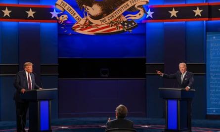 Donald Trump, left, and Joe Biden during the televised presidential debate last month.