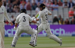 Will Young and Ross Taylor almost run into each other.