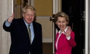 Boris Johnson welcoming Ursula von der Leyen to No 10.