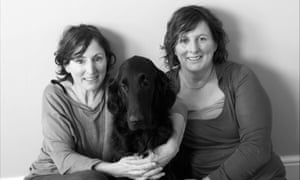 Nina Stibbe, left, with her sister Vic and Crystal the dog