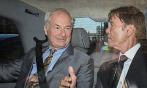 Paul Gambaccini and Sir Cliff Richard leave parliament on Monday after meeting MPs and peers to warn them of the impact of being wrongly accused of sex crimes.