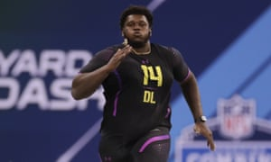 Kendrick Norton during a workout before the 2018 NFL draft
