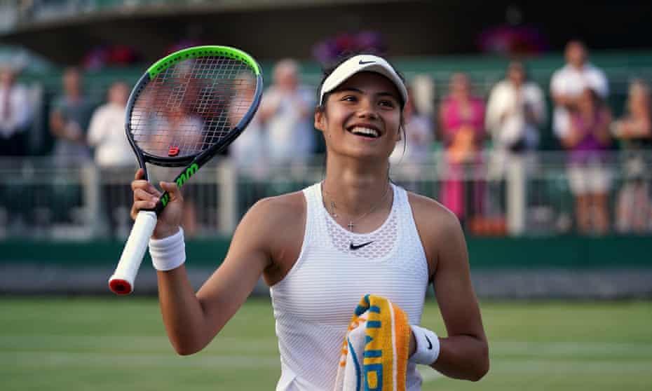 Emma Raducanu celebrates victory against Marketa Vondrousova in the second round match at Wimbledon.