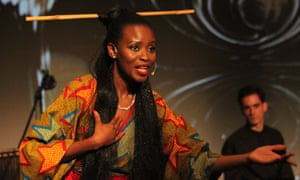 Helen Parker-Jayne Isibor performs in Song Queen: A Pidgin Opera, the work she created based on African folk traditions.