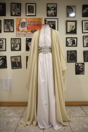 The outfit worn by Peter O'Toole in Lawrence of Arabia is displayed