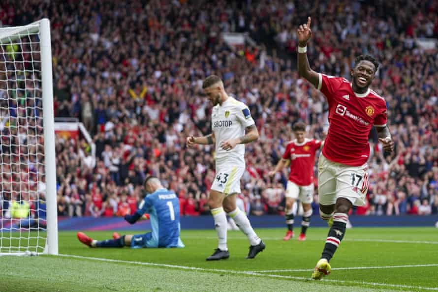Fred celebrates his goal during Manchester United's rout of Leeds.