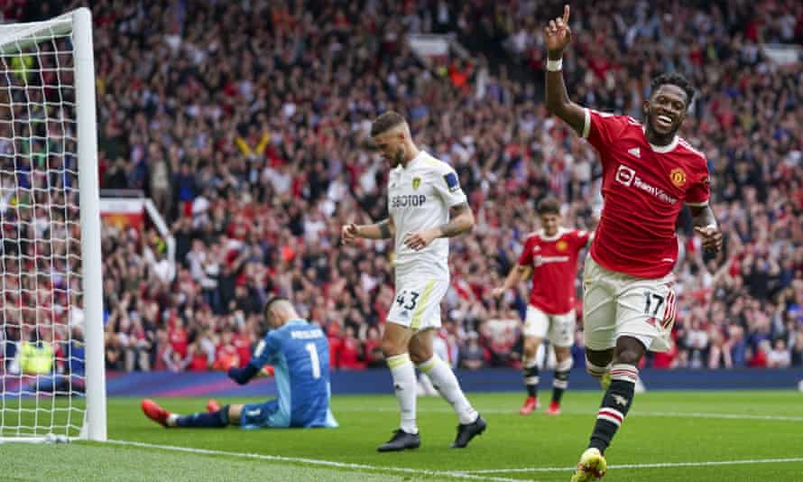 Manchester United's Fred celebrates after completing Manchester United's 5-1 victory over Leeds.