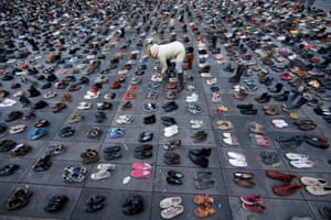 Pairs of shoes have been symbolically placed on the Place de la République in Paris, France, after planned march there was banned