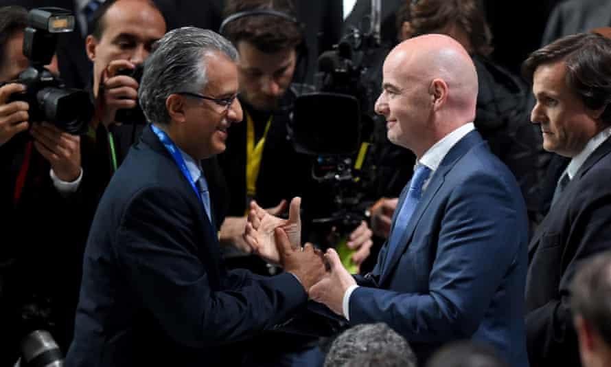 Sheikh Salman congratulates Gianni Infantino on his election triumph.