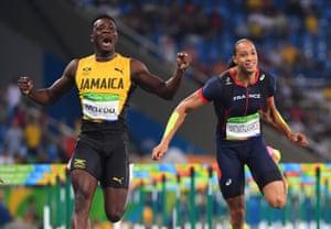 Jamaica's Omar McLeod celebrates after his win.