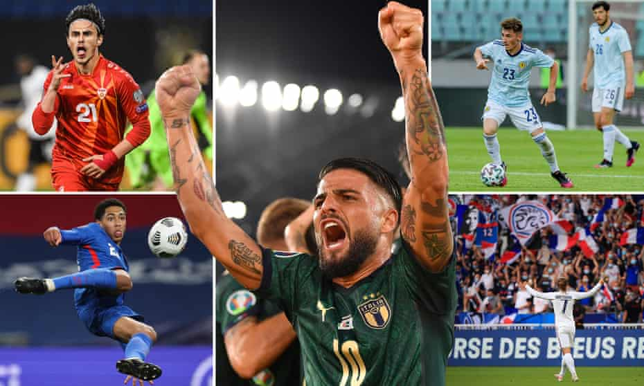 Clockwise from top left: Eljif Elmas of North Macedonia, Lorenzo Insigne of Italy, Billy Gilmour of Scotland, Antoine Griezmann of France and England's Jude Bellingham.