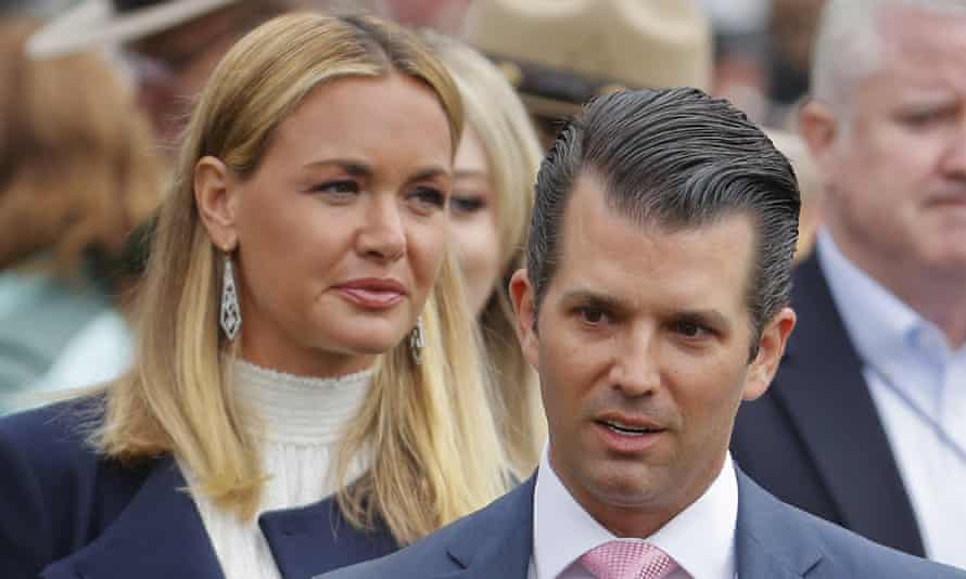 Vanessa Trump with Donald Trump Jr, her former husband, in April 2018. The book claims Secret Service agents reported that Vanessa Trump 'started dating one of the agents who had been assigned to her family'.