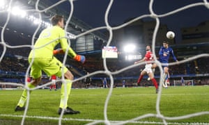 Álvaro Morata heads Chelsea's first goal past Forest keeper Luke Steele.