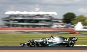Lewis Hamilton's Mercedes in a practice run at Silverstone on Friday ahead of Sunday's F1 British Grand Prix.