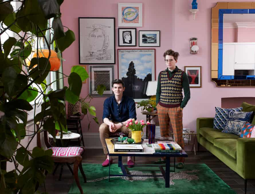 Interior designer and artist Luke Edward Hall (on right) with his partner Duncan Campbell in their London home