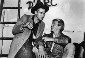 David Bowie drinks with Paul Simonon of The Clash, following the group's concert at Shea Stadium, Queens, New York City 1982