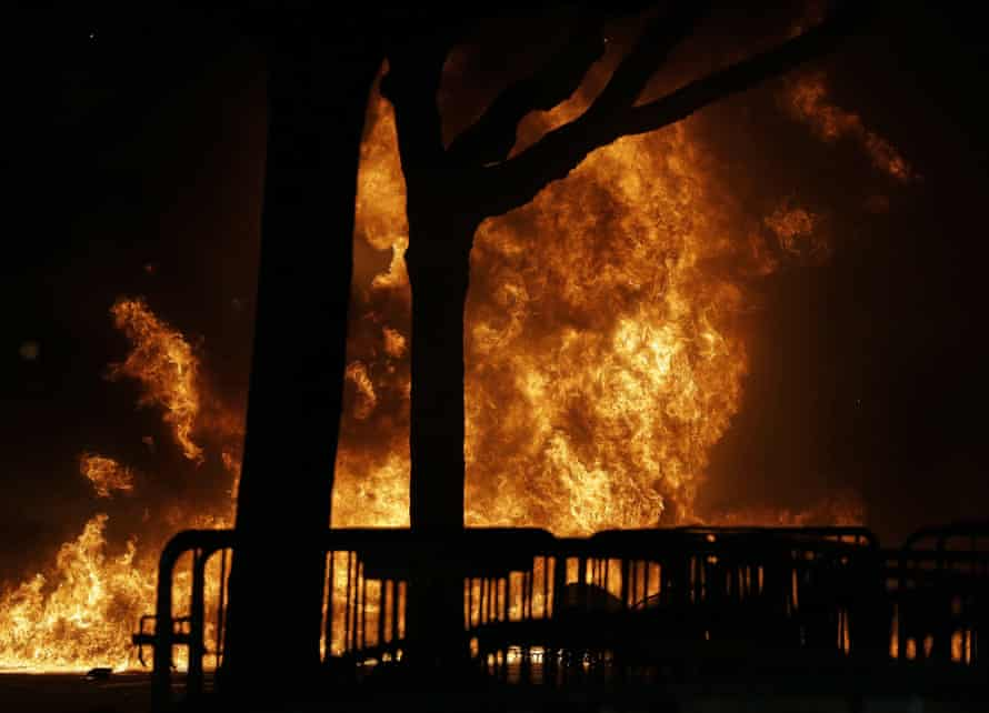A fire set by demonstrators on the University of California at Berkeley campus.