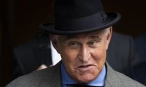 Roger Stone leaves federal court in Washington. He was convicted of crimes including obstruction of justice, lying to Congress and witness tampering.