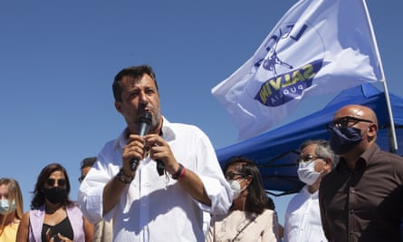 Italy's far-right leader Matteo Salvini addressing a crowd in the Puglia region on 29 August.