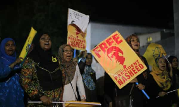 Supporters of former president of Maldives Mohamed Nasheed call for his release in Male', Maldives