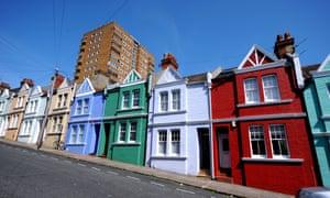 Different coloured houses in Blaker Street, Brighton
