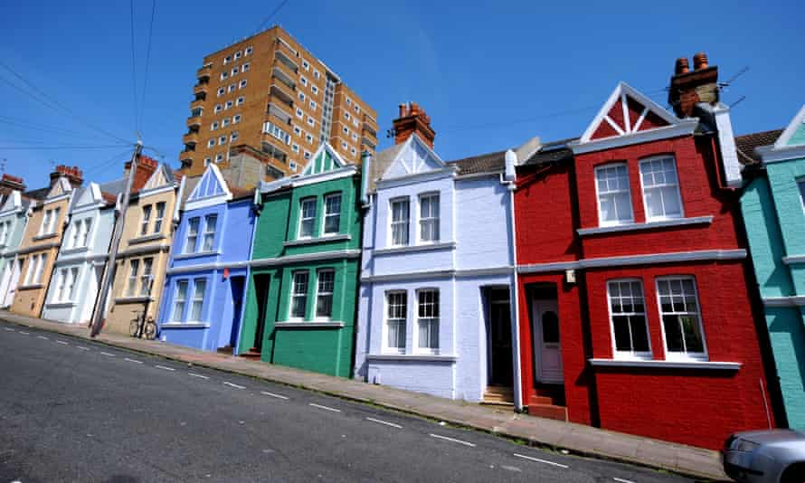 Different colour houses in Blaker Street, Brighton