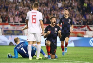 Petkovic celebrates scoring for Croatia.
