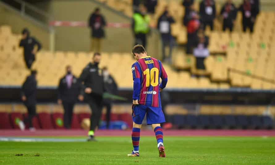 Lionel Messi trudges off after his first red card for Barcelona.