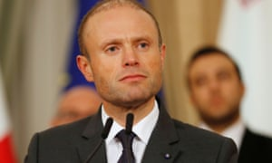 Maltese prime minister Joseph Muscat at his 3am press conference in Valletta.