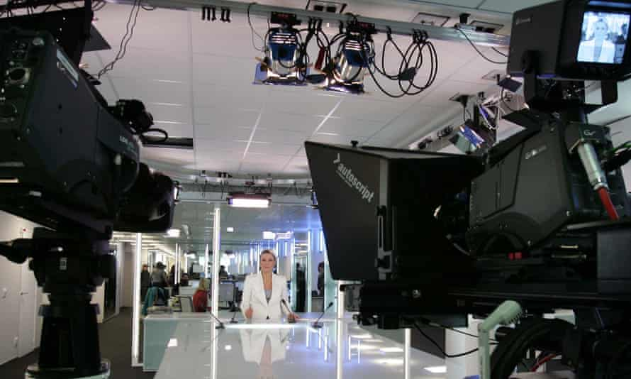 France 24 news studio at the firm's HQ in Issy-Les Moulineaux, Paris.