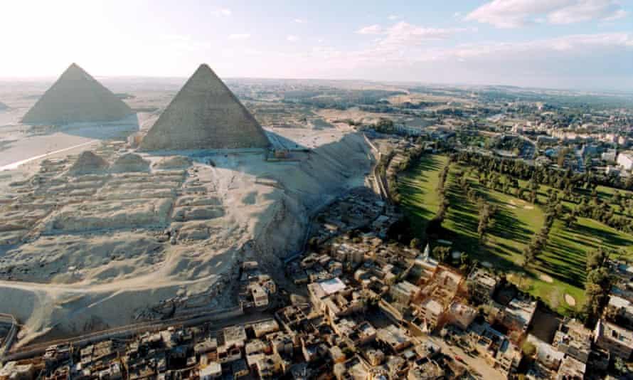 Pyramids of Giza outside Cairo, Egypt.