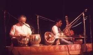 Ravi Shankar, centre, with Alla Rakha at Woodstock in 1969.
