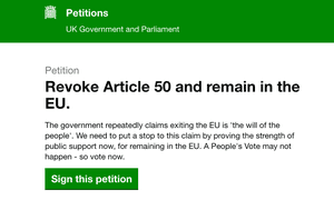 The petition continued to grow following Saturday's anti-Brexit march.