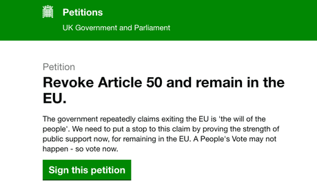 Brexit petition to revoke article 50 exceeds 5m signatures