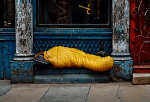 Homeless person in yellow sleeping bag, 1984