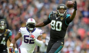 Jacksonville Jaguars' tight end Julius Thomas attempts to catch a pass against the Buffalo Bills at Wembley