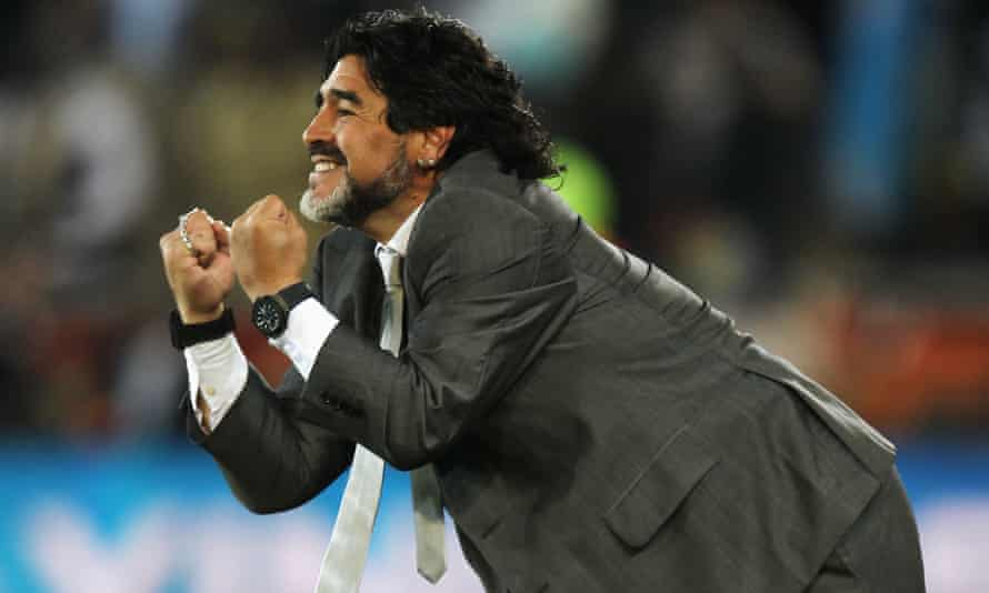 Maradona as head coach of Argentina on the sideline during the 2010 World Cup match against Greece in Polokwane, South Africa.