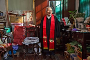 Pastor Dai in her room, Hongde church compound (2014)