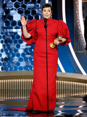 Olivia Colman accepts the award for best TV series performance for her portrayal of Queen Elizabeth II in The Crown