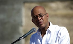 """President Michel Martelly, AKA Sweet Micky. His song Bal Bannann Nan (""""Give Them the Banana"""") has been listened to 117,000 times on a Haitian Carnival website."""