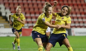 Daniëlle van de Donk of Arsenal celebrates after her late goal.