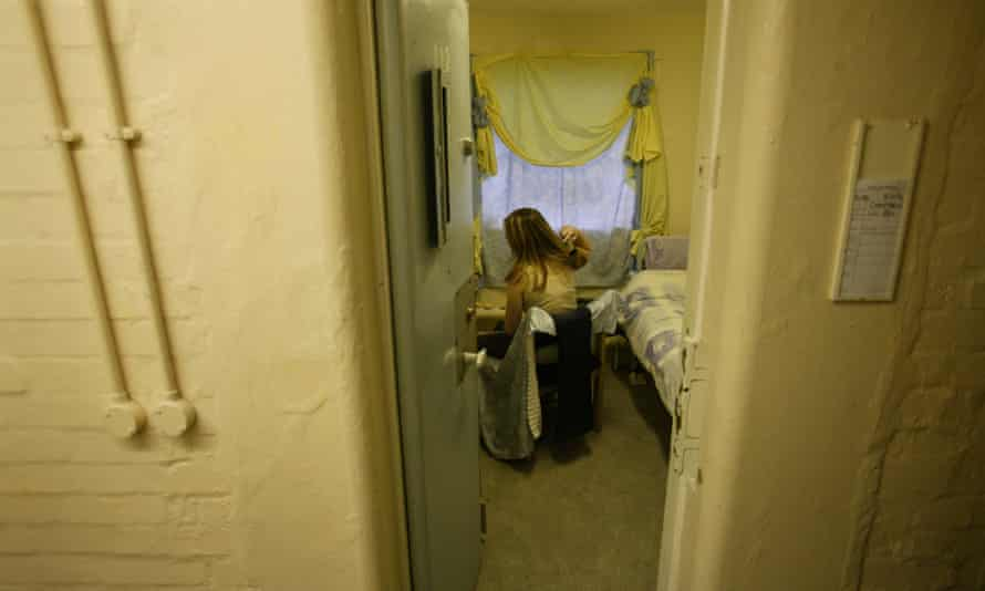 A female prisoner in her cell at Brockhill women's prison in Redditch, Worcestershire