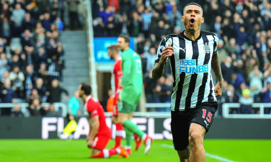 Kenedy celebrates scoring the opening goal for Newcastle against Southampton.