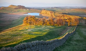 Hadrians Wall seen from Winshield Crag to Steel Rigg and Crag Lough, before sunset in Northumberland, North East England, UK