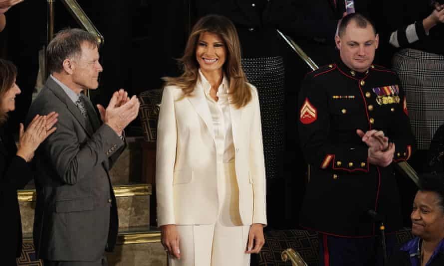 Melania Trump arrives for her husband's first State of the Union address, amid speculation about the state of their marriage.