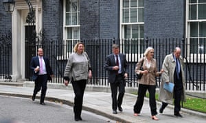 Left to right: Stephen Hammond, Antoinette Sandbach, Richard Benyon, Margot James and Nicholas Soames leaving No 10 after their talks with Boris Johnson.